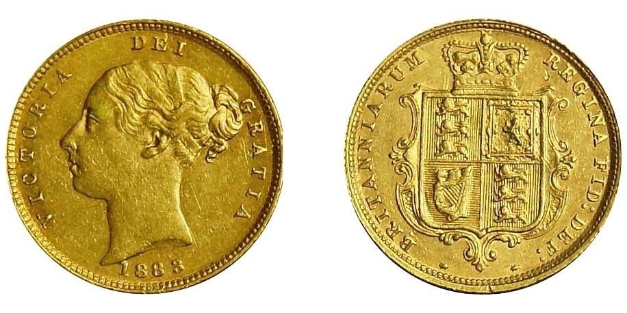 Victoria, Gold Half Sovereign, 1883.