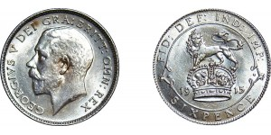 George V, Silver Sixpence, 1915