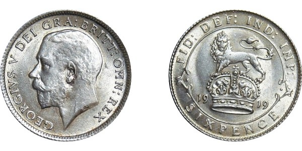 George V, Silver Sixpence, 1919
