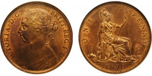 Victoria, Bronze Penny, 1890