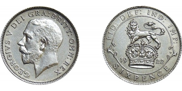 George V, Silver Sixpence, 1922
