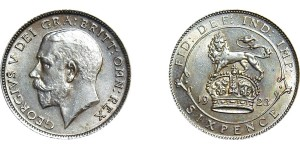 George V, Silver Sixpence, 1923
