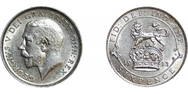 George V, Silver Sixpence, 1913