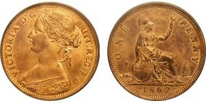 Victoria, Bronze Penny, 1862