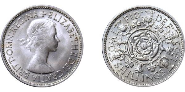 Elizebeth II, Cupro-nickel Florin, 1953