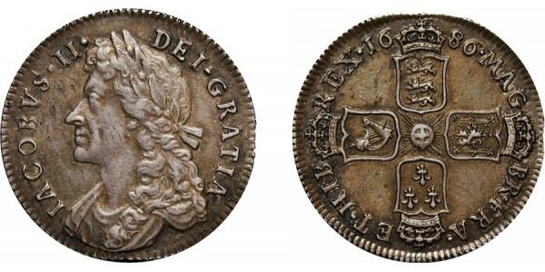 James II, Silver Shilling, 1686
