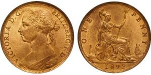 Victoria, Bronze Penny, 1892