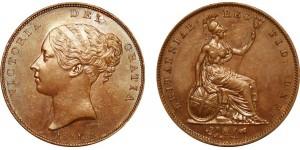 Victoria, Copper Penny, 1841