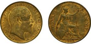 Edward VII, Bronze Halfpenny, 1908
