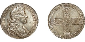 William III, Silver Shilling, 1700. Practically Mint State
