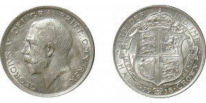 George V, Silver Half-crown, 1918