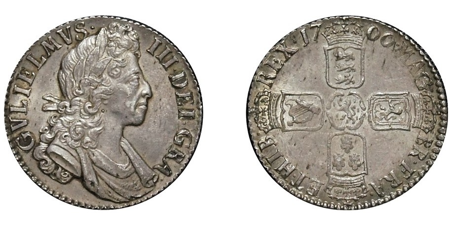 William III, Silver Shilling, 1700. Small 00's