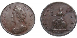 George II, Copper Farthing, 1730