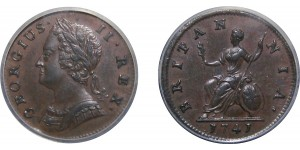George II, Copper Farthing, 1741.