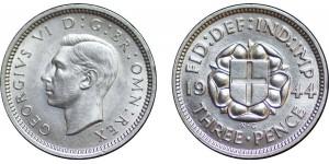 George VI. Silver Threepence, 1944.