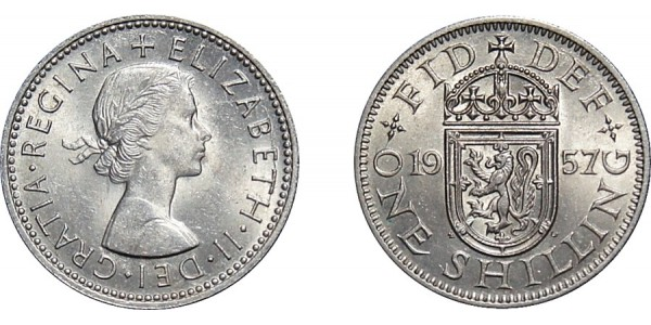 Elizabeth II. Scottish Shilling. 1957