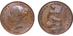 Victoria, Copper Penny, 1854. PT