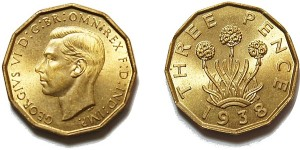 George VI, Brass Threepence. 1938