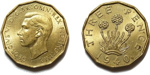George VI, Brass Threepence. 1940