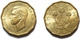 George VI, Brass Threepence. 1941
