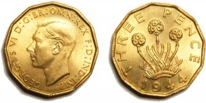 George VI, Brass Threepence. 1944