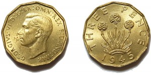 George VI, Brass Threepence. 1945
