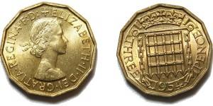 Elizabeth II, Brass Threepence. 1954