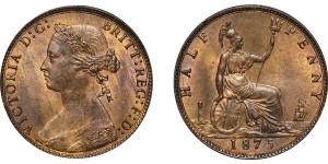 Victoria, Bronze Halfpenny, 1875