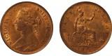 Victoria, Bronze Halfpenny, 18757. R14.