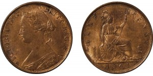 Victoria, Bronze Halfpenny,1861. F.270