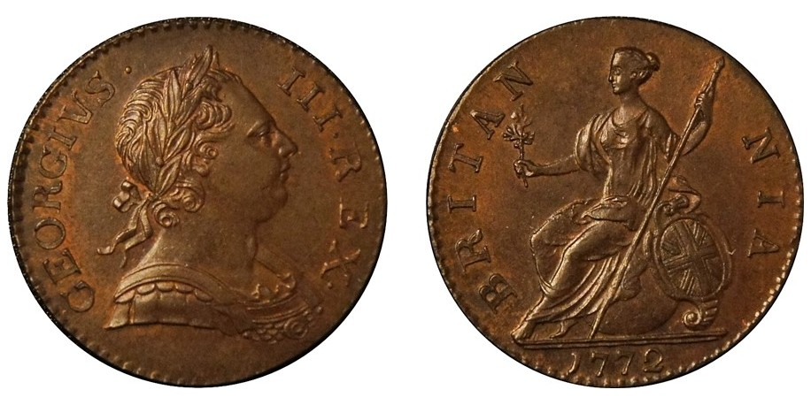 George III, Copper Halfpenny, 1772