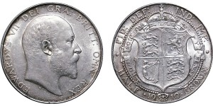 Edward VII, Silver Half-crown, 1910