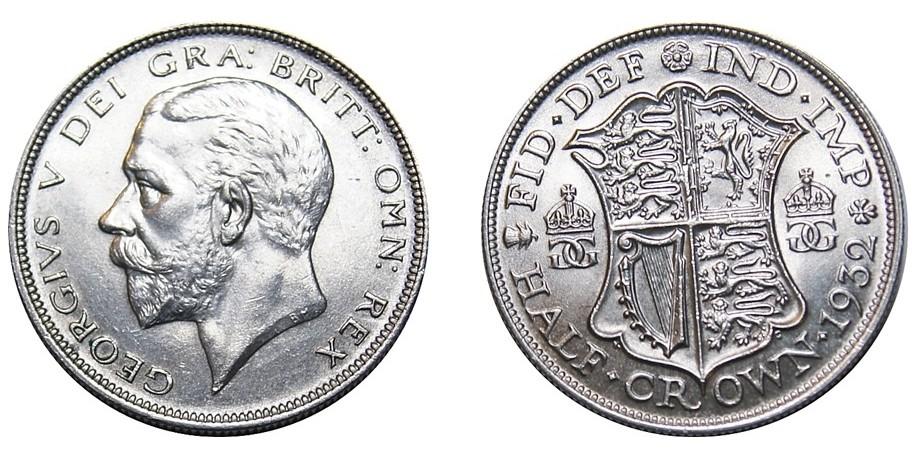 George V, Silver Half-crown, 1932