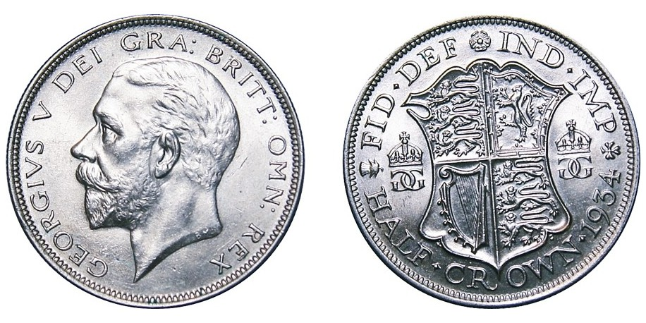 George V, Silver Half-crown, 1934.