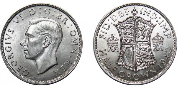 George VI, Silver Half-crown, 1940