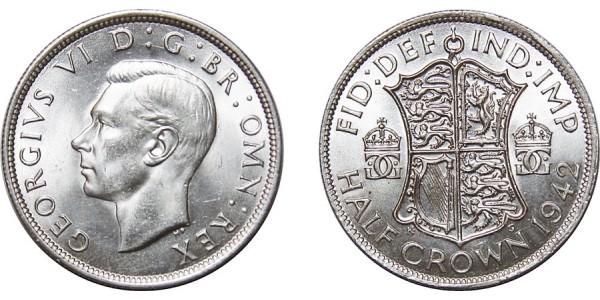 George VI, Silver Half-crown, 1942