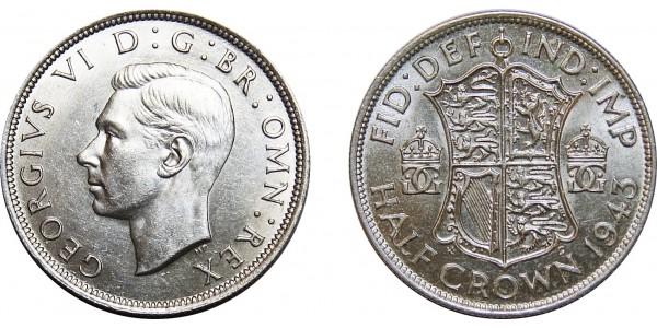 George VI, Silver Half-crown, 1943