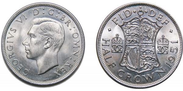 George VI, Silver Half-crown, 1951