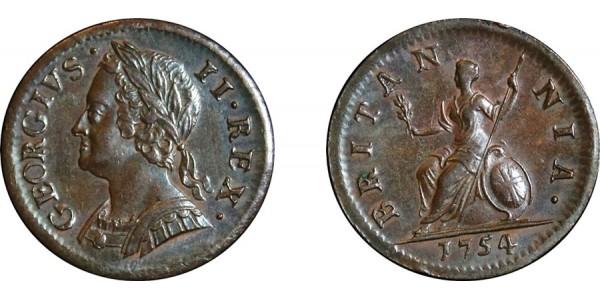 George III, Copper Farthing, 1754