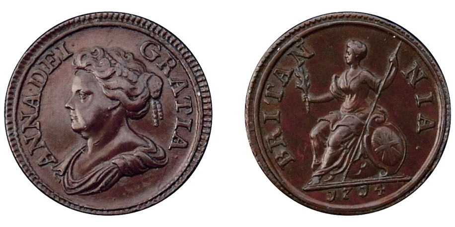 Anne, Copper Pattern Only Farthing, 1714