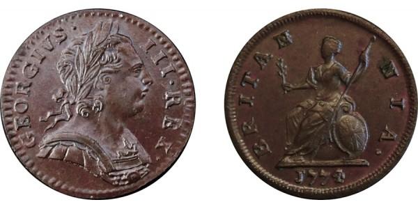 George III, Copper Farthing, 1774