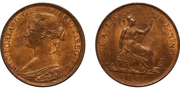 Victoria, Bronze Halfpenny, 1860. F. 261. R 12