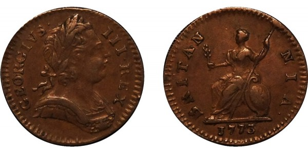 George III, Copper Farthing, 1773. Peck 914.