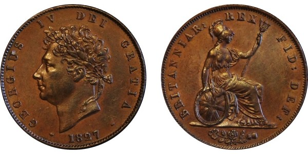 George IV, Copper Halfpenny, 1827
