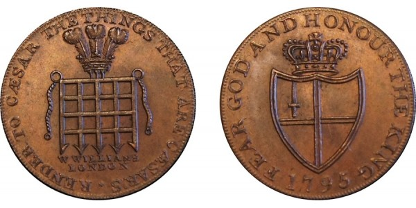 Middlesex. Newgate. Halfpenny Token. 1795. D&H 396B