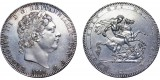 George III, Silver Crown, 1818. LIX. TUTΛMEN Edge Error. Rare