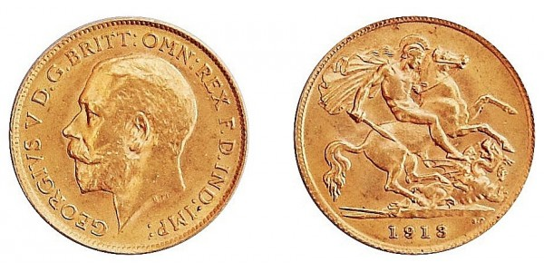 George V, Gold Half Sovereign, 1913