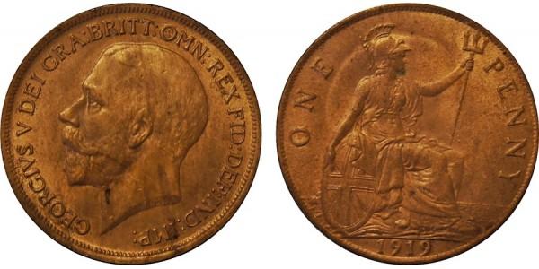George V, Bronze Penny, 1919