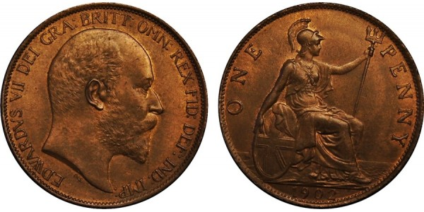Edward VII, Bronze Penny, 1902 . High Tide