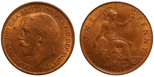 George V, Bronze Penny, 1921